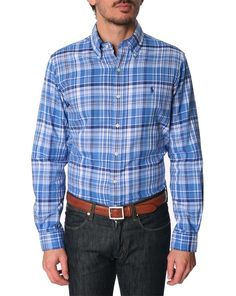 50% OFF POLO Ralph Lauren, Blue Checked Double-sided Slim Fit Shirt