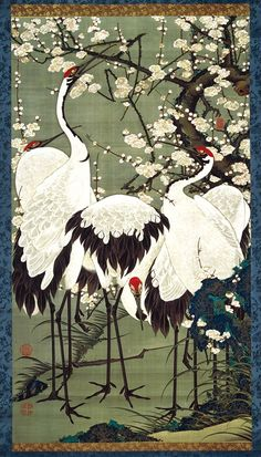 oriental art Figure group cranes 梅花 Jakuchu Period, from Tokyo National Museum exhibition Japanese Painting, Chinese Painting, Chinese Art, Japanese Watercolor, Watercolor Art, Art Chinois, Art Asiatique, Art Japonais, Art Et Illustration