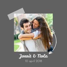 Trouwkaart: Stijlvol met foto op grijs - voorkant