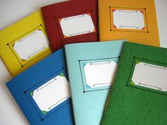 Set of 6 handmade notebooksuneven covers by ExiArtsConceptWorlds, $32.00