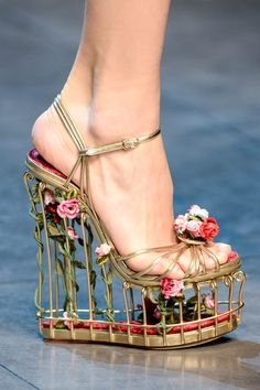 Dolce and Gabbana Fall 2013 Metallic gold birdcage wedge heel. This is so crazy it is just amazing.YEAH!