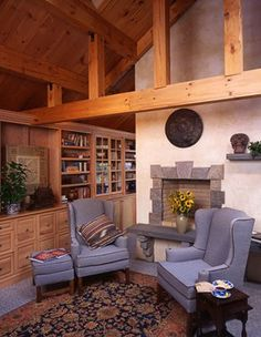 The Library in this Ward Cedar Log Home on Lake Zoar.