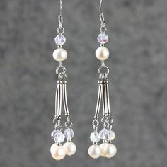 Pearl crystal linear long dangling earrings Bridesmaid gifts Free US Shipping handmade Anni designs