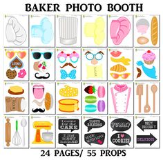 PRINTABLE Baker Photo Booth Props–Printable Baking Props-Printable Bakery Props-Baking Party Props-Chef Photo Booth Props-Instant Download