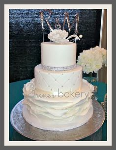 Irene's Bakery - El-Paso-area Cakes - Glamorous white-frosted wedding cake with rhinestones