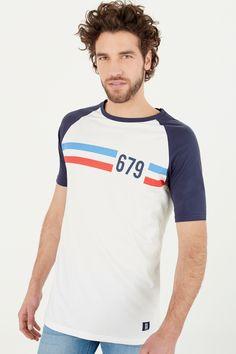Camiseta manga corta ranglan contraste skate fit con raya estampada en el pecho. | Camisetas | Springfield