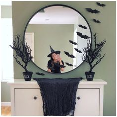 """@createwithashley on Instagram: """"It's getting spooky over here!🦇 . I decorated the house yesterday while the kids were at school and their reaction once they saw the…"""" Oversized Mirror, Create, School, Kids, House, Furniture, Instagram, Home Decor, Young Children"""