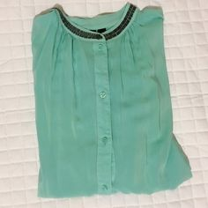 Teal Top🎀 Teal button up, embellished neck and cuffs a.n.a Tops Button Down Shirts