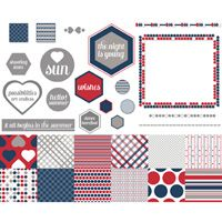 Summer Possibilities Kit -- Perfect for summer picnics and parties!   Download includes: * 11-piece SVG stamp brush set *12 Designer Series Papers * 22 embellishments * 4 punches  Colors:  Going Gray, Night of Navy, Real Red