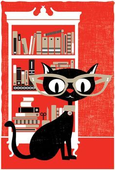 Black cat and bookshelf print