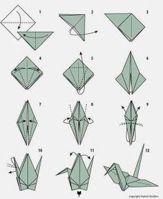 Grulla de origami paso a paso http://blog-telaylana.blogspot.com.es/2014/04/grulla-de-origami-paso-paso.html
