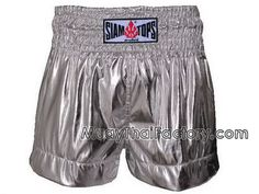 Siamtops SIAMTOPS Muay Thai shorts - * Metallic * SILVER for sale. [ST-S-137-A]