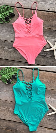 Feel fun and feminine in this adorable one-piece! It is undeniably comfortable with double fabric, while the front cross design give this one piece a chic look. This swimsuit should be a part of your world!