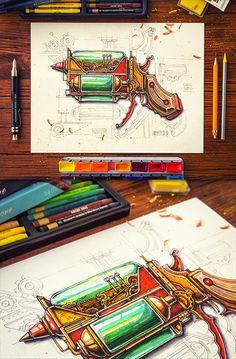 Steampunk on Behance Steampunk Illustration, Steampunk Gadgets, Colored Pencil Artwork, Space Pirate, Steampunk Cosplay, Prop Design, Dieselpunk, Cyberpunk, Sketches