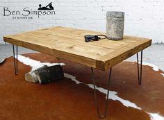 Table basse rustique solide épingle à cheveux métal industriel bois jambes trapu à la main sur mesure hauteur 45cm CT45