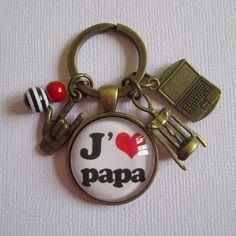 """Porte-clés """"j'aime papa"""", cabochon bronze, bijou fantaisie"""