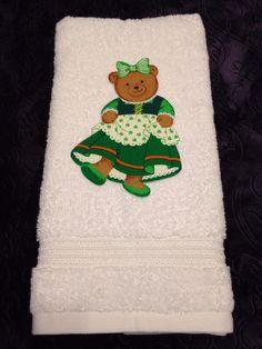 Unique Girl Teddy Bear Shamrock Theme Bathroom Superior Hand Towel - NEW #Superior