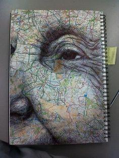 porcelainspirit: biro on collaged mapI A-level Kunst, Mind Map Art, Gcse Art Sketchbook, A Level Art Sketchbook Layout, Art Alevel, Sketchbook Inspiration, Sketchbook Ideas, Identity Art, Art Drawings Sketches