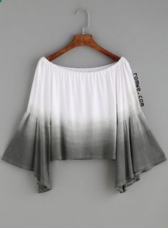 famedguide.com Ombre Boat Neck Bell Sleeve Crop Top