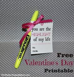 Homemade Valentine Cards. This printable is super cute & easy! I'm thinking I might have my daughter do this for her Valentine's cards to her classmates this year – I think they would think it's pretty fun to get a highlighter as a unique gift.  Find more Valentine's Day recipes, deals, crafts & more we've shared, just click here!