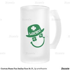 Lucky. Fun Shamrock Smiley Face Design St. Patrick's Day Gift Beer Mugs with personalized name. Matching cards and other products available in the Holidays / St.Patrick's Day Category of the artofmairin store at zazzle.com