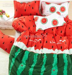 Wholesale Bedding Set - Buy 133X72 Counts Green/Red Kids Bedding Set Printed Watermelon Size Queen/Full Comforter/bed Sheet/pillow Case MQQ0...
