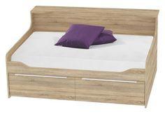 """Das Ausziehbett """"Smart"""" von CARRYHOME wird Sie mit seiner Flexibilität begeistern! Das moderne Bett verfügt über 2 Lattenroste und kann bei Bedarf ganz einfach auf die Größe eines Doppelbettes ausgezogen werden. Das Möbelstück eignet sich besonders gut für den Einsatz im Jugendzimmer. Spontane Übernachtungsbesuche sind dank des einfachen Auszugs und der bequemen Aufbewahrung der zweiten Matratze ein Kinderspiel. Die Gestaltung in modernem Eichefarben und die geschw"""