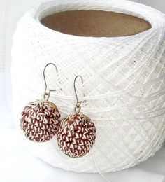 Earrings Brown white  crochet jewelry  by MiracleFromThreads, $8.75