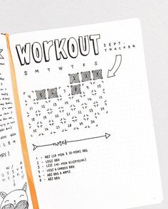 Cute workout/fitness tracker for bullet journal.