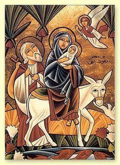 Coptic icon -- holy-family-trip-to-egypt Religious Icons, Religious Art, Posters Vintage, Religion, Biblical Art, Madonna And Child, Catholic Art, Holy Family, Orthodox Icons