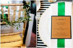 green white modern classic Kate Spade inspired baby shower features gold chiavari chairs pulled up to the menu card