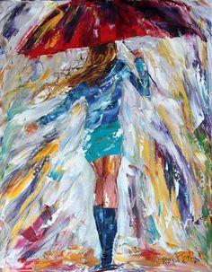 Original oil painting Rain Dance Girl PALETTE by Karensfineart