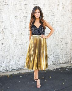 Golden Pleats Midi Skirt