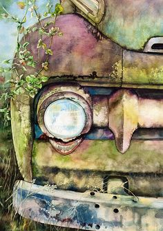 Abandoned Canvas Print by Diane Fujimoto. All canvas prints are professionally printed, assembled, and shipped within 3 - 4 business days and delivered ready-to-hang on your wall. Choose from multiple print sizes, border colors, and canvas materials. Art Watercolor, Guache, Watercolor Techniques, Watercolor Tutorials, Car Painting, Art Cars, Love Art, Painting Inspiration, Amazing Art