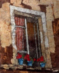 Tuscan Italy Window Geranium  Batik Watercolor by pumpkinpatch5