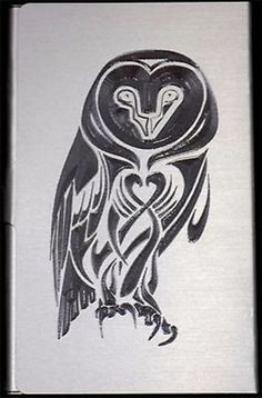Tribal Barn Owl Engraved Metal New Business ID Credit Card Patch Case BUS-0320