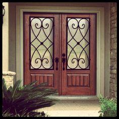 Now! $2,800 Prehung Double Door 80 Fiberglass Charleston 3/4 Lite Wrought Iron