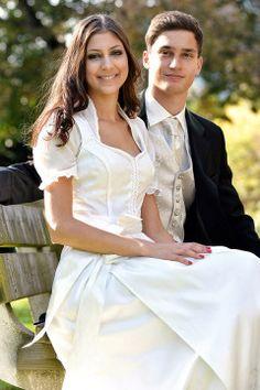 from Trachtenmode Hiebaum 2017 Wedding Attire, Wedding Dresses, Alpine Style, Dirndl Dress, Plan My Wedding, White Dress, Flower Girl Dresses, Style Inspiration, How To Wear