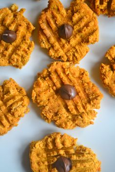 Use this easy, healthy, guilt-free Halloween dessert recipe to make gluten-free, oil-free, nut-free + vegan 40 Calorie Pumpkin Cookies. Halloween Pumpkin Cookies, Pumpkin Sugar Cookies, Pumpkin Cookie Recipe, Pumpkin Recipes, Fall Recipes, Cookie Recipes, Paleo Dessert, Healthy Dessert Recipes, Gluten Free Desserts