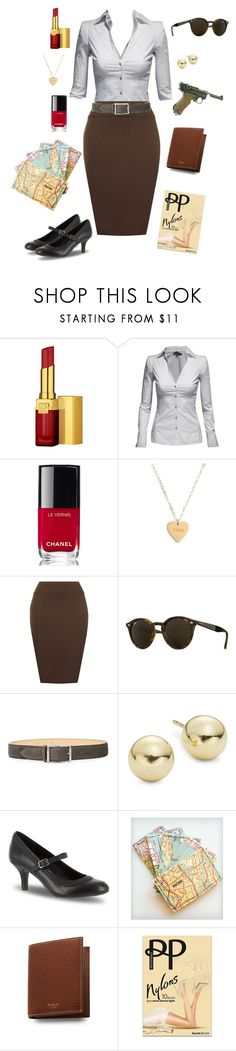 """""""Peggy Carter-Marvel Comics"""" by conquistadorofsorts ❤ liked on Polyvore featuring Estée Lauder, Jane Norman, Chanel, Seoul Little, WearAll, Ray-Ban, Reptile's House, Lord & Taylor, Easy Street and Mulberry"""