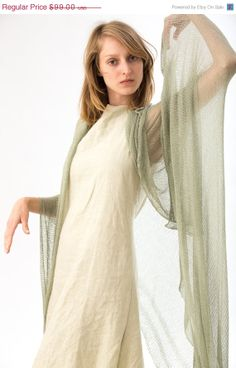 ON SALE scarfsage knitted scarfgreen bamboo silk shawl by Toosha, $89.10