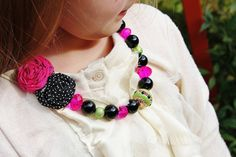 baby necklace little girl chunky bead and rosette by BeBeBijoux, $19.00