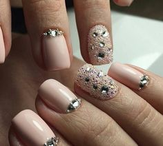 Delicate nails, Half-moon nails ideas, Ideas of gentle nails, Nails ideas 2017, Nails trends 2017, Nails with liquid stones, Nails with rhinestones, Nails with rhinestones ideas