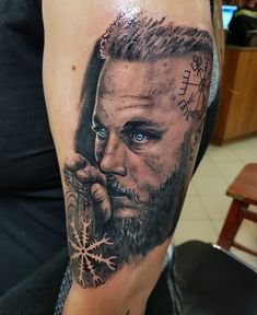 Artist: Huszár Sándor (Alex Hussar) #blackandgreytattoo #tattoo #portrait #blackandwhitetattoo #blackandwhiteportrait #vikings #vikingsportrait #vikingstattoo #ragnar #ragnartattoo #ragnarportrait #ragnarlothbrok #ragnarlothbroktattoo #ragnarlothbrokportrait #blueeyes #vegvisir #vegvisirtattoo #aegishjalmur #aegishjalmurtattoo #viking