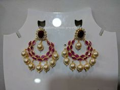 Gold Ruby Necklace, Gold Jhumka Earrings, Indian Jewelry Earrings, Pearl Necklace Designs, Gold Bridal Earrings, Jewelry Design Earrings, Gold Earrings Designs, Gold Jewellery Design, Mens Gold Jewelry