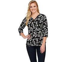 Denim & Co. Printed 3/4 Sleeve V-neck Top