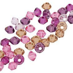 5328 3mm Swarovski Elements Crystal Mix - Heartthrob   Fusion Beads. Rose, fuchsia, light amethyst, amethyst, and light smoked topaz.