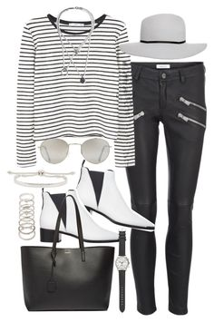 """""""Outfit for winter with leather trousers"""" by ferned on Polyvore featuring Anine Bing, MANGO, ASOS, Acne Studios, Yves Saint Laurent, Maison Margiela, Forever 21, Monica Vinader and J.Crew"""