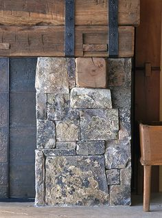 Reclaimed beams with stone