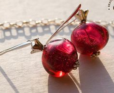 FREE SHIPPING Pomegranate  handmade lampwork by BeautyGlassByKate